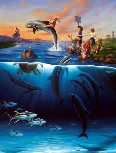 Джим Уоррен. Катание на дельфинах.